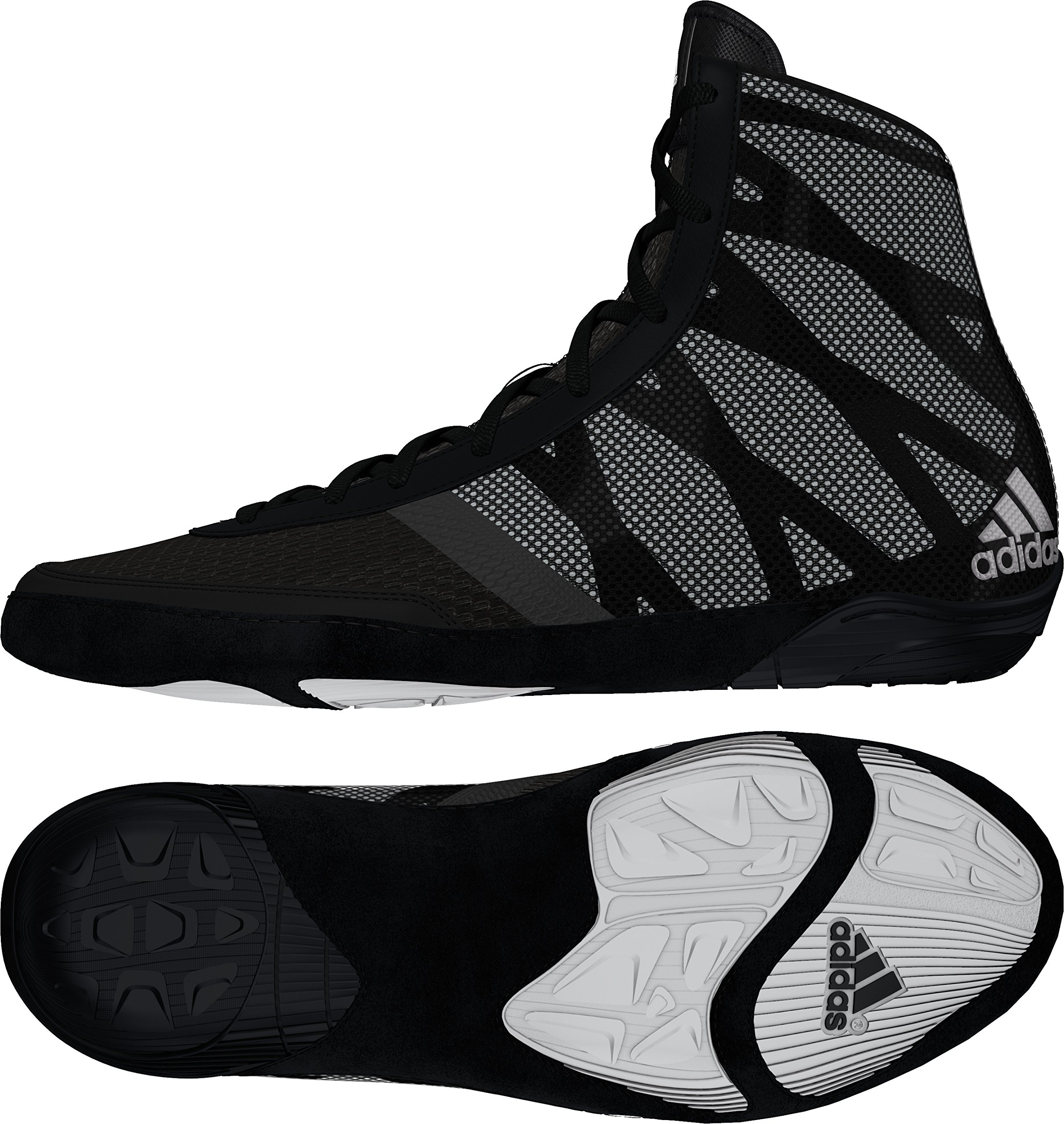 Adidas Pretereo III Wrestling Shoes - Black/Silver/White - 9.5
