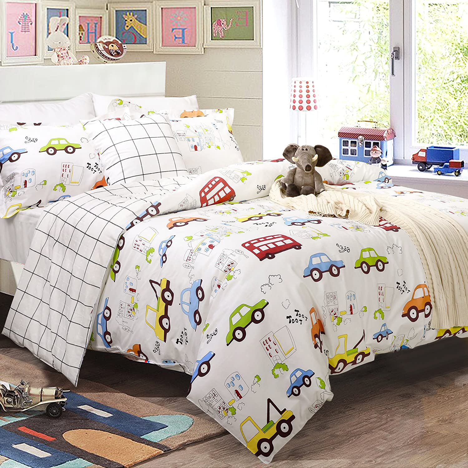Amazon.com: Boys Bedding Sets Cars Bedding 100% Cotton Duvet Covers Set  3 Piece Queen Size (No Comforter Included): Home U0026 Kitchen