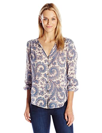 0bd9625ec8a1ec Lucky Brand Women's Paisley Button Front Blouse at Amazon Women's Clothing  store: