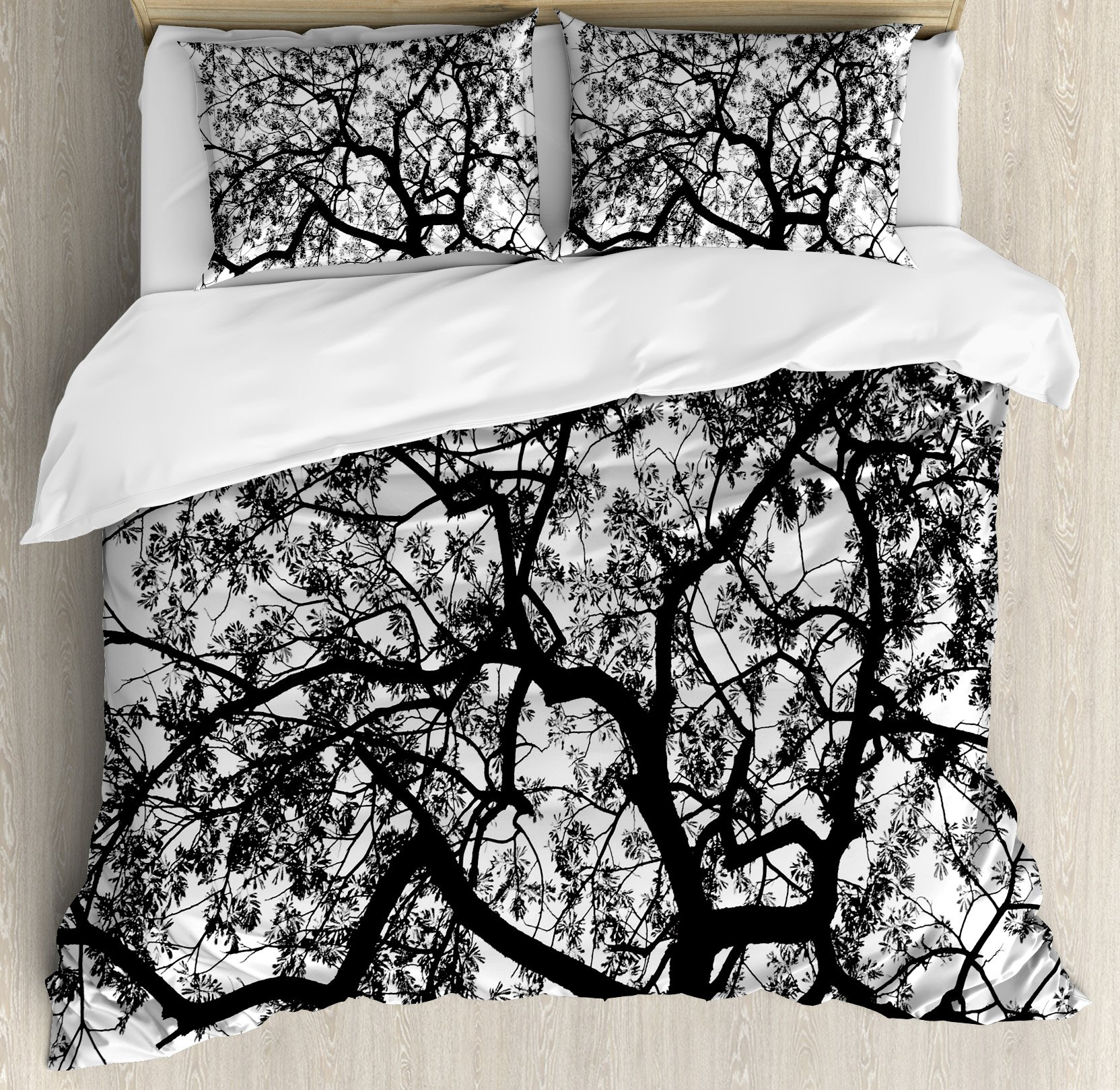 Apartment Decor Duvet Cover Set by Ambesonne, Forest Tree Branches Modern Decor Spooky Horror Movie Themed Print, 3 Piece Bedding Set with Pillow Shams, Queen / Full, Black and White