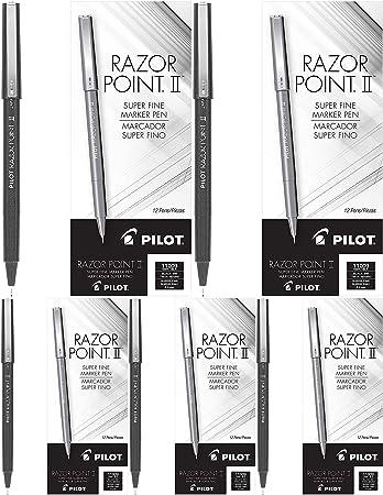 2 Pack Super Fine Point 12 Count Black Ink PILOT Razor Point II Fine Line Marker Stick Pens 0.2mm