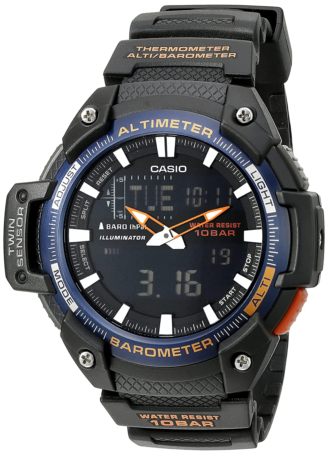 64fc60508f7d Amazon.com  Casio Men s SGW-450H-2BCF Twin Sensor Analog-Digital Black Watch   Watches