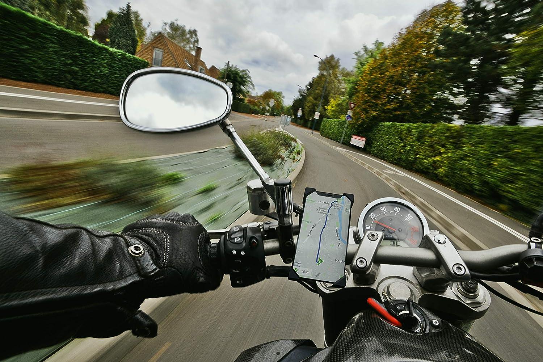 PRIMEMION Selbstschlie/ßende Handyhalterung f/ür Fahrrad /& Motorrad I Universal 360/° Smartphone Halterung Fahrrad I Sichere Motorrad /& Fahrrad Handyhalterung I Handyhalter f/ür alle Handys bis 7 Zoll