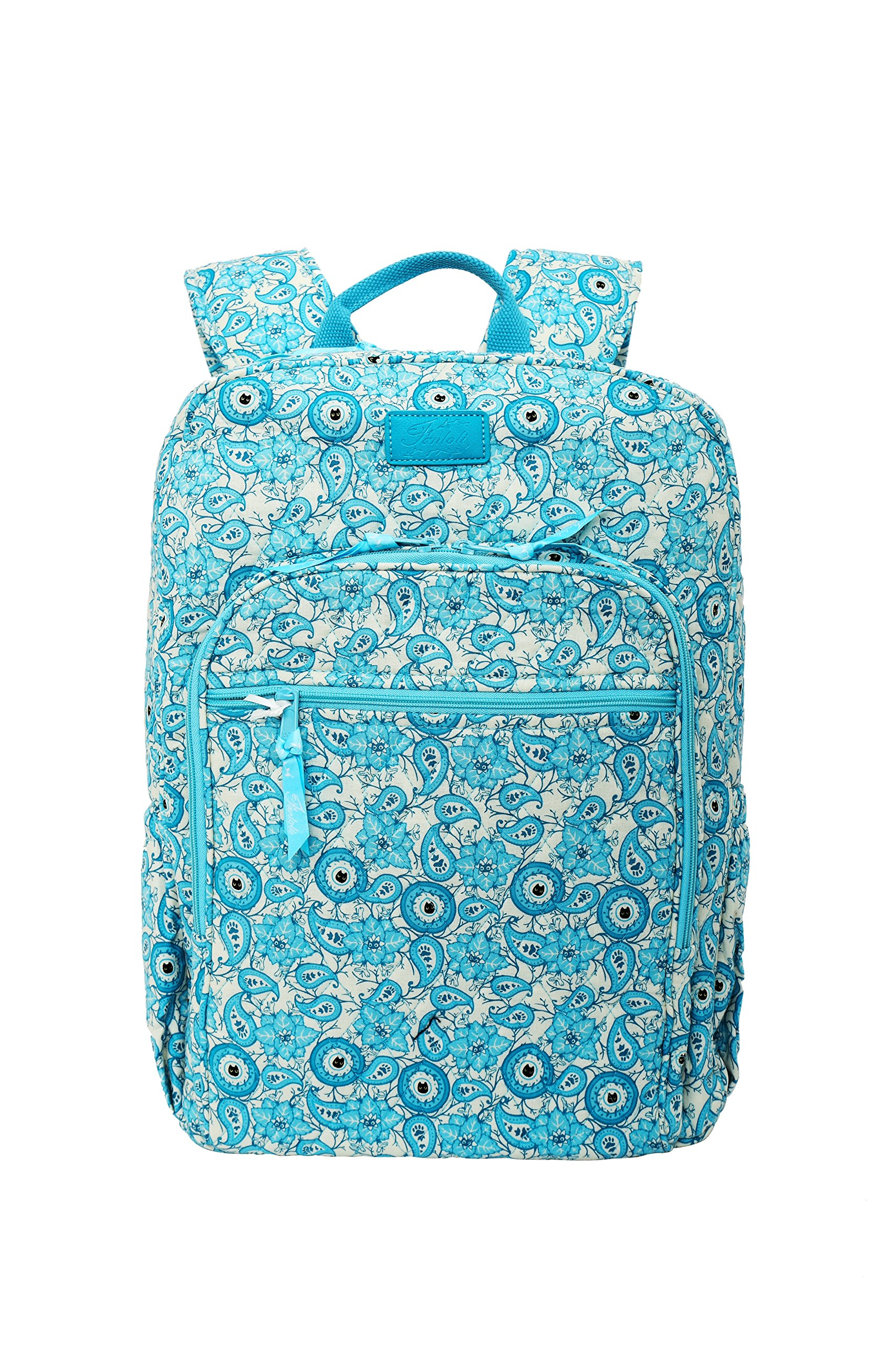 Fanloli Quilted Cotton College Travel Backpack in Kitty Lost in the Garden