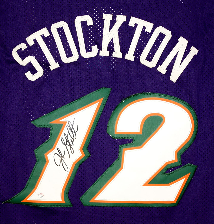 12ef8d69e John Stockton Utah Jazz Signed Autographed Purple  12 Jersey PAAS COA hot  sale