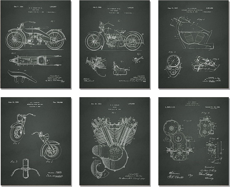Harley Davidson Patent Art Prints - Set of Six Photos (8 X 10, CHALKBOARD)