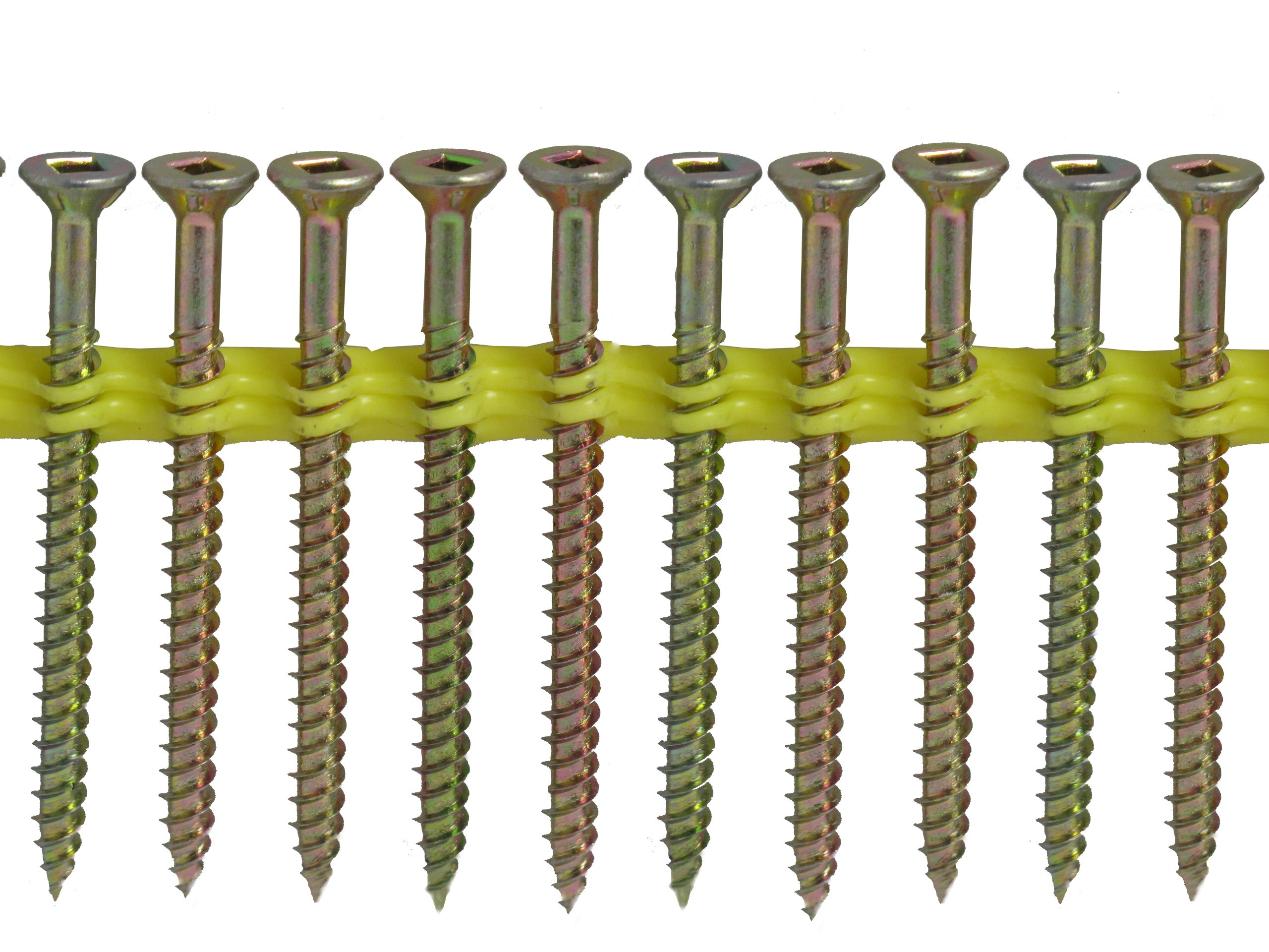 Quik Drive WSNTL3S Wood Screws 3-Inch Course Twin Threads, Yellow Zinc Coating