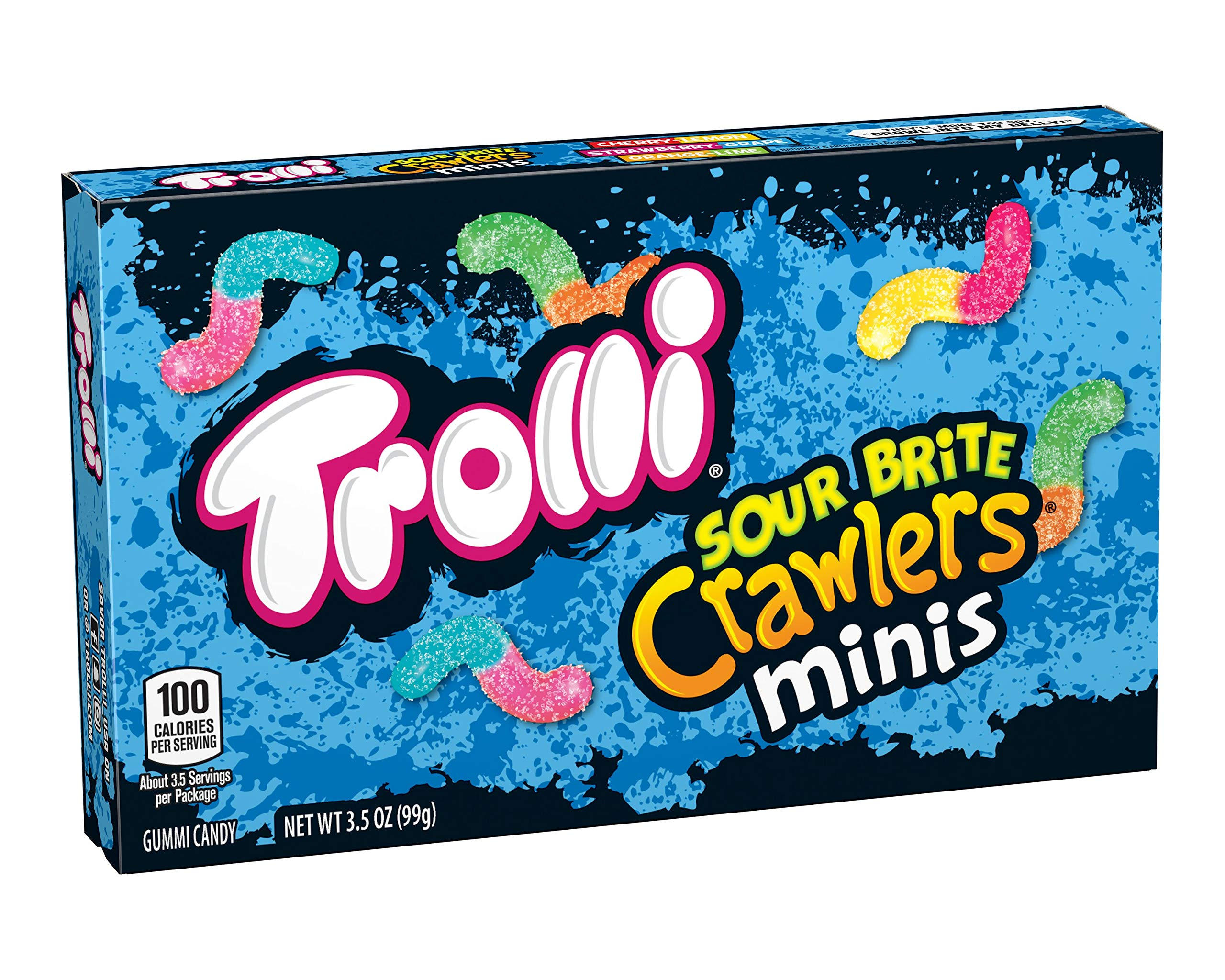 Trolli Sour Brite Crawlers Gummy Worms, 3.5 Ounce Theatre Box (Pack of 12) Sour Gummy Worms by Trolli
