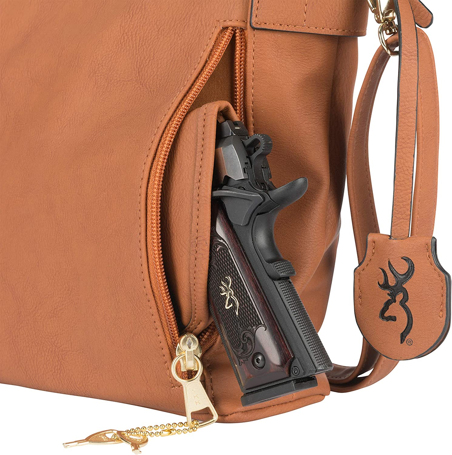 Premium Holstered Crossbody Handbag with Safety Locking Option Browning Womens Catrina Concealed Carry Purse