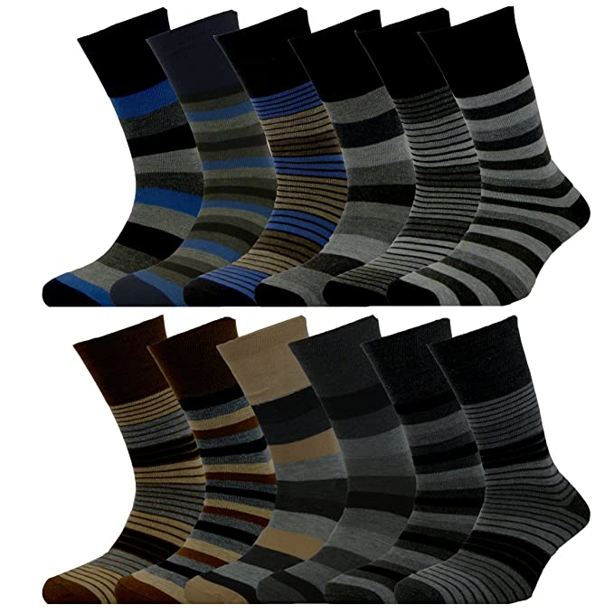 3 Pairs Mens Flexi-Top Brown Mix 100/% Cotton Diabetic Everyday Socks Size 6-11