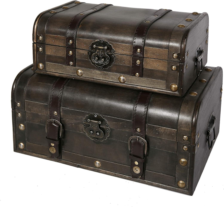 Soul & Lane Explorations Decorative Wooden Storage Trunk (Set of 2)   Antique Vintage Suitcase Chest with Straps