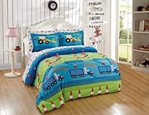 Better Home Style Green Blue Red Construction Site Equipment Cranes Trucks Backhoes Cones Design 7 Piece Comforter Bedding Set for Boys/Kids/Teens Bed in a Bag with Sheet Set # Crane (Full)
