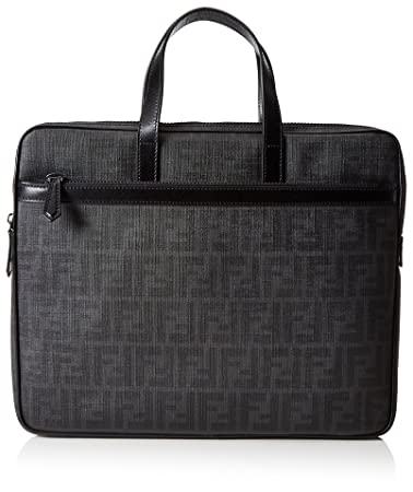 597fcf2fb3 Amazon.com | Fendi Men's Zucca Slim Briefcase (One Size, Black ...