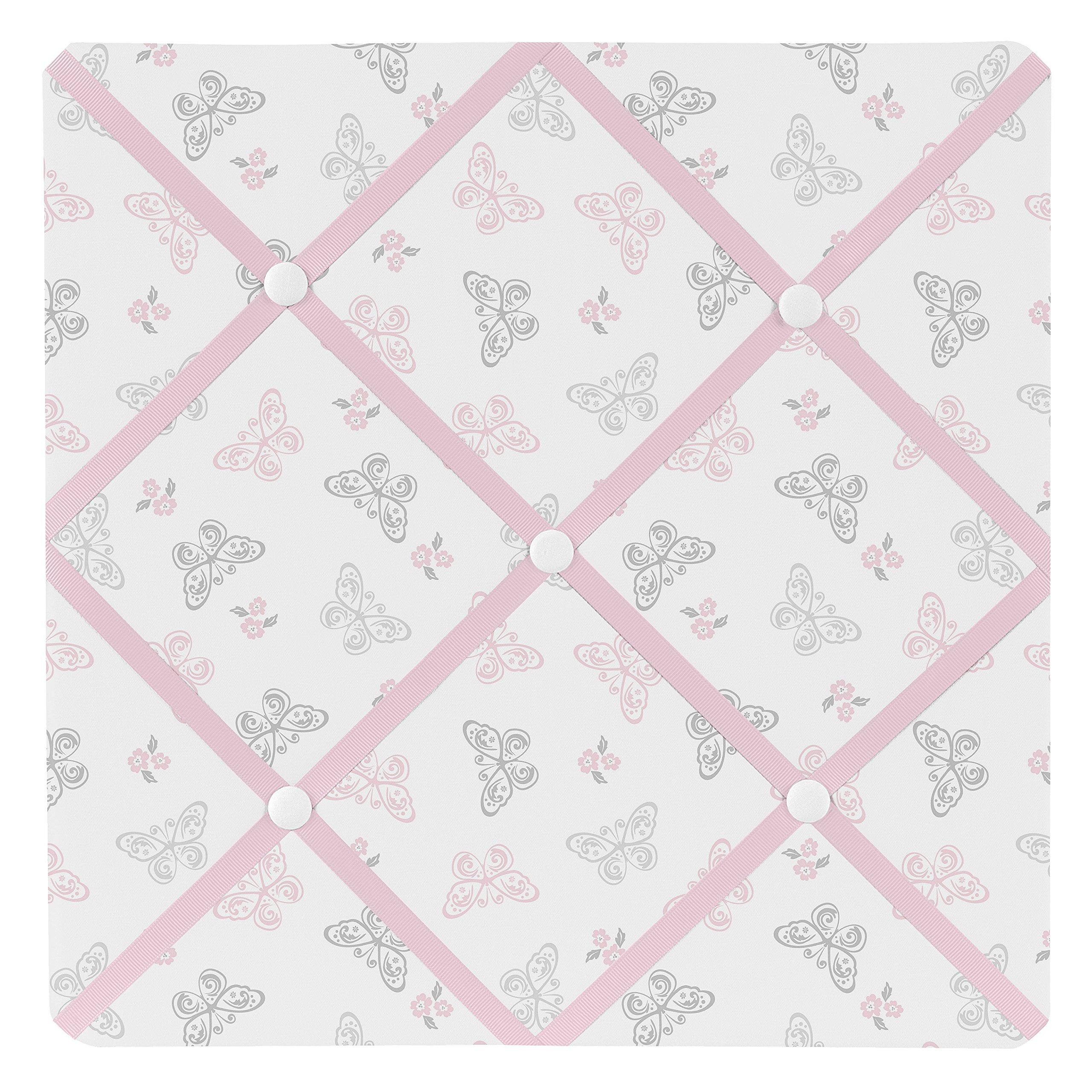 Sweet Jojo Designs Pink, Gray and White Shabby Chic Alexa Damask Butterfly Fabric Memory/Memo Photo Bulletin Board