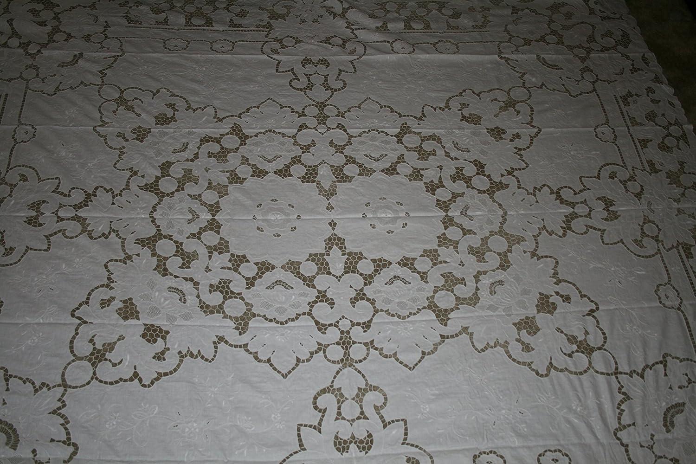 ハンドメイド刺繍レース長方形ベッドスプレッド、100 %リネン、Pureホワイト色96 x 110。。。。。。 B01JNGENCC
