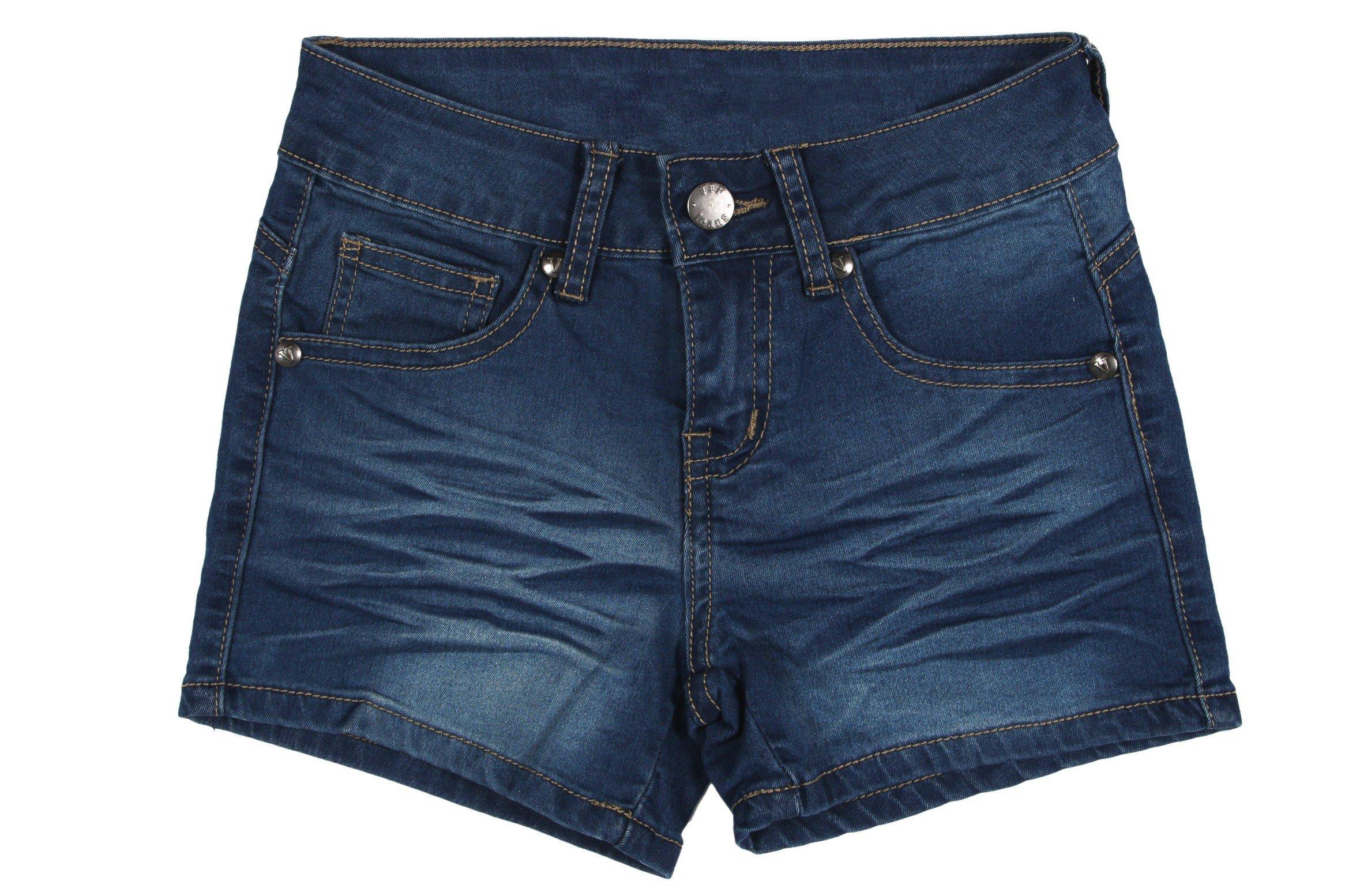 K9-8399B(SH) - Girls' Stretch 5 Pockets Premium Stretch Denim Shorts in Washed Blue Size 12 (MLG1)