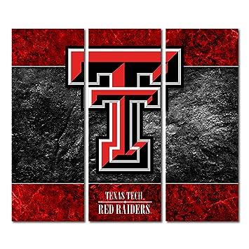Amazon.com: Texas Tech Red Raiders Canvas Wall Art Triptych Double ...