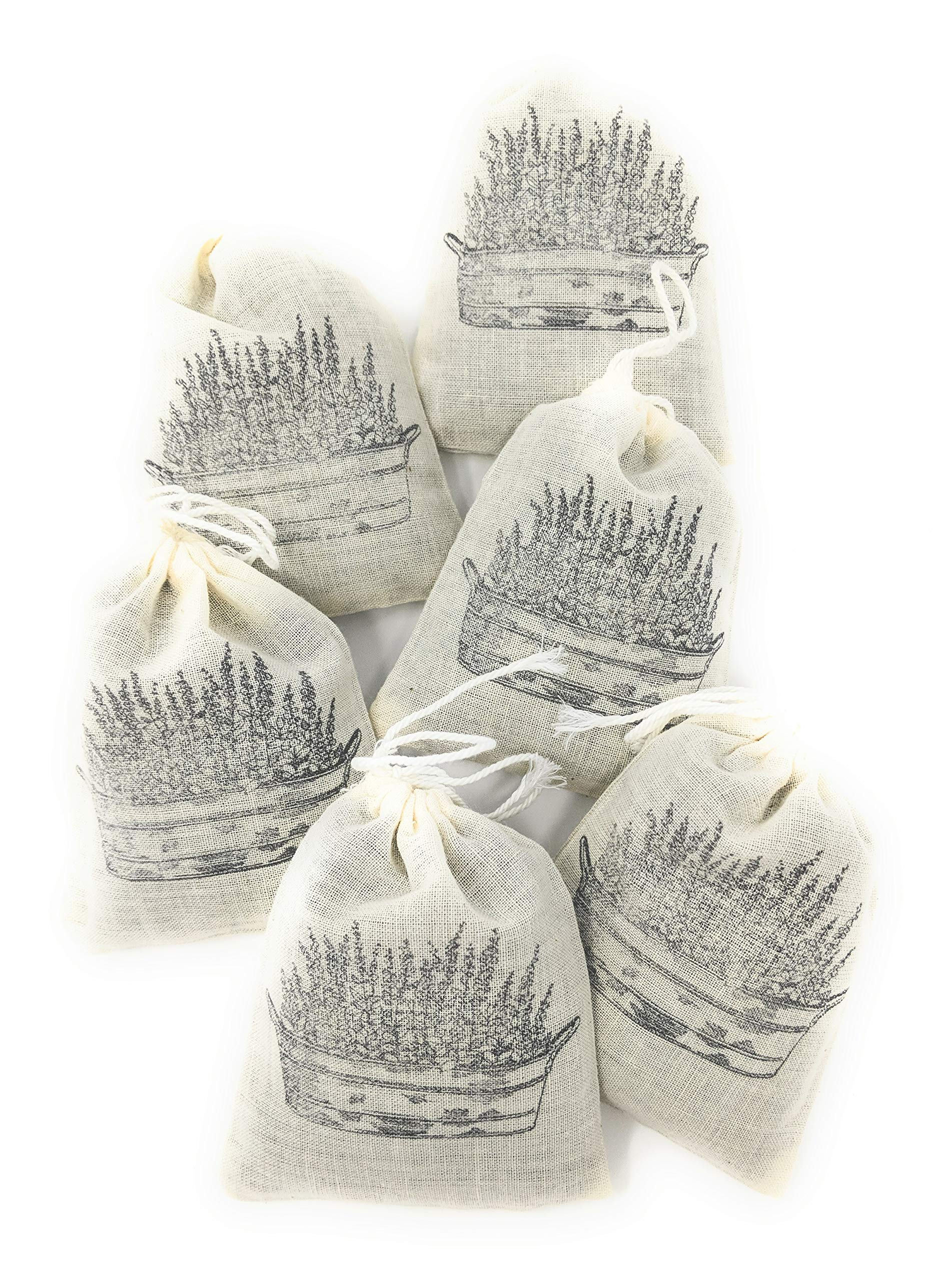 Lightrock Farms Lavender Sachets, Dried Lavender in Natural Cotton Bags (6 Pack) by Lightrock Farms