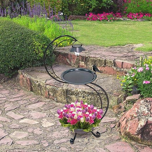 GardenKraft 10009 Baño para pájaros Iluminado Solar con Jardinera | Ornamento de jardín | Metal Verde Efecto verdín | Luces Recargables | 90 x 45 cm, Verdete: Amazon.es: Jardín