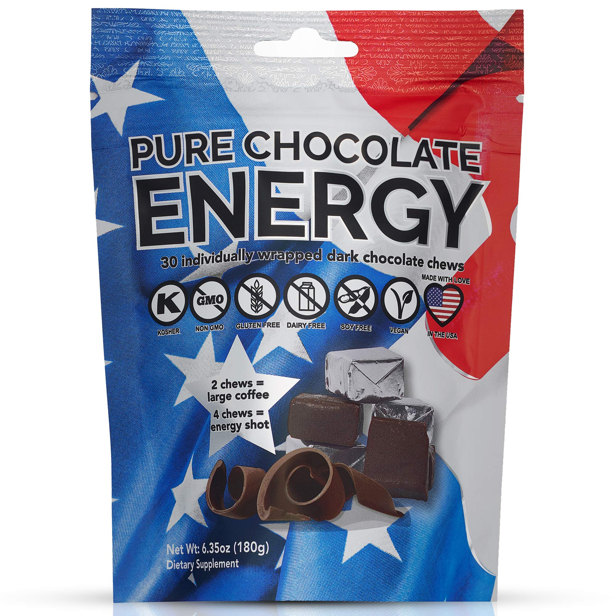 Pure Chocolate Energy Chews - with Caffeine - Dark Chocolate (30 Count) by Purity & Grace
