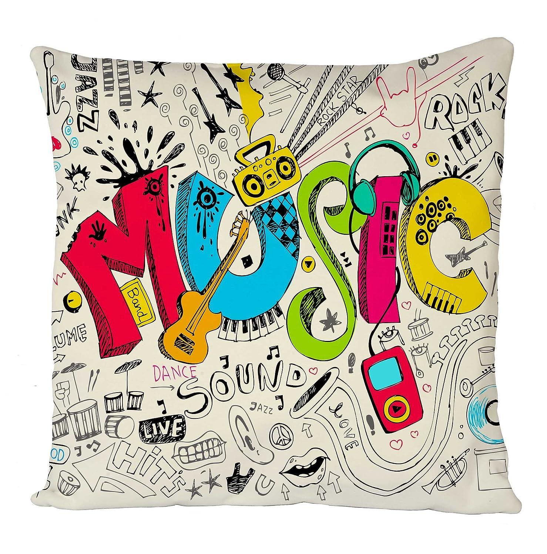 Music Colourful Guitar Home Sofa D/écor Cushion Cover Pillow Case