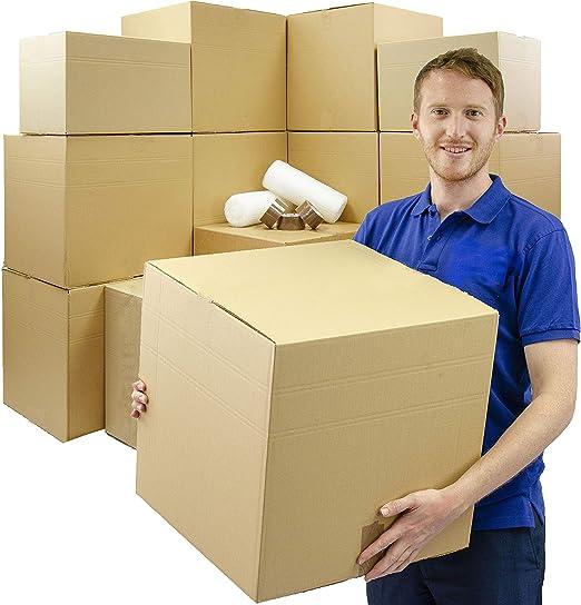 10 cajas de cartón extra grandes para mudanzas, de doble pared, 457 x 457 x 457 mm, 2 rollos de papel de burbujas de 500 mm x 10 m, cinta de embalaje