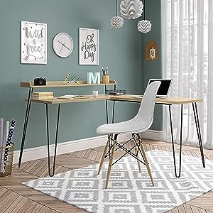 Ameriwood Home Haven L Riser, Desk, Natural/Black