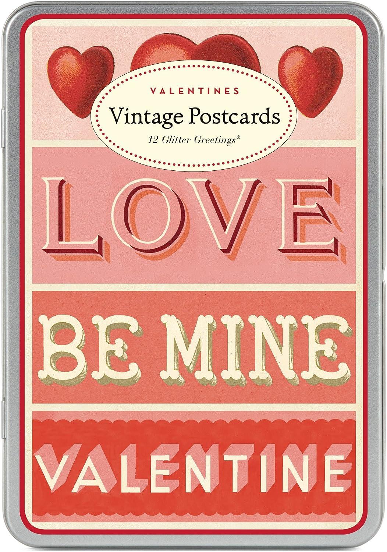 Cavallini Papers /& Valentines Glitter Vintage Postcards