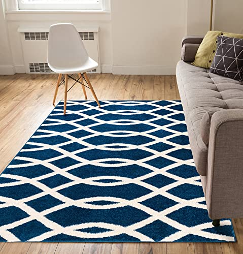 Wild Feria Trellis Dark Blue Beige Modern Geometric Lines 7'10″ x 9'10″ Area Rug Soft Shed Free Easy to Clean Stain Resistant