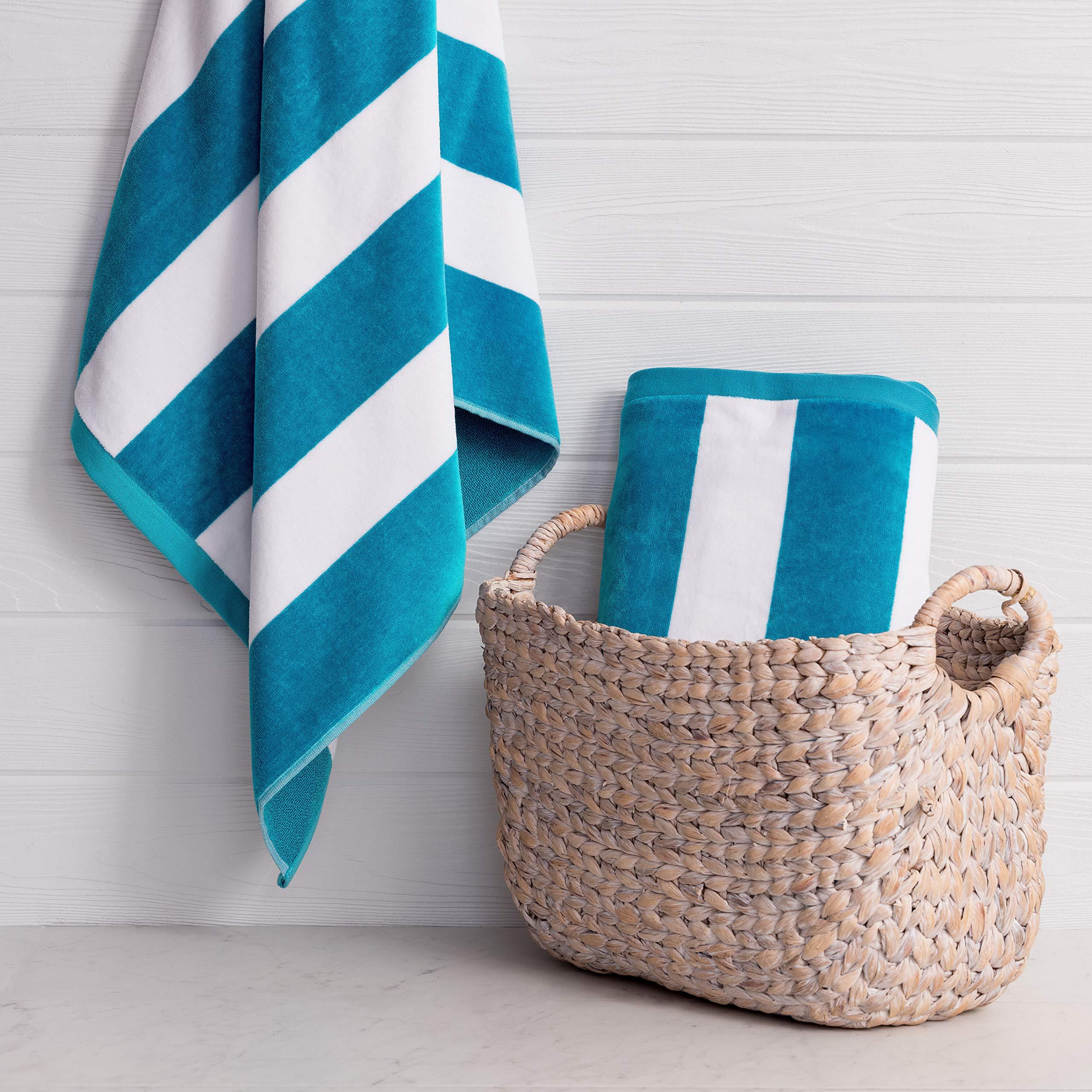 Welhome Cabana Beach Towel - Set of 2-100% Turkish Cotton - Oversize Towels 40''x72'' - Pool & Beach - Supersoft - Ultra Absorbent - Quick Dry - Machine Washable - 450 GSM - Deep Aqua