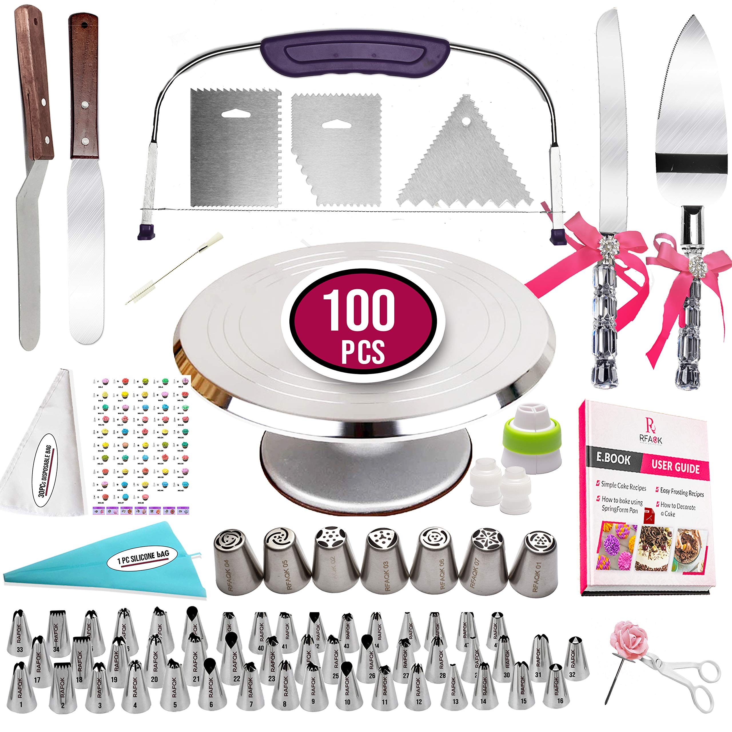 100 Pcs Cake Decorating Kit with Aluminum Metal Turntable-Rotating Stand-Cake server & knife set-48 Numbered Icing tips-7 Russian Piping nozzles-Straight & Angled Spatula-Cake Leveler& Baking supplies by RFAQK (Image #1)
