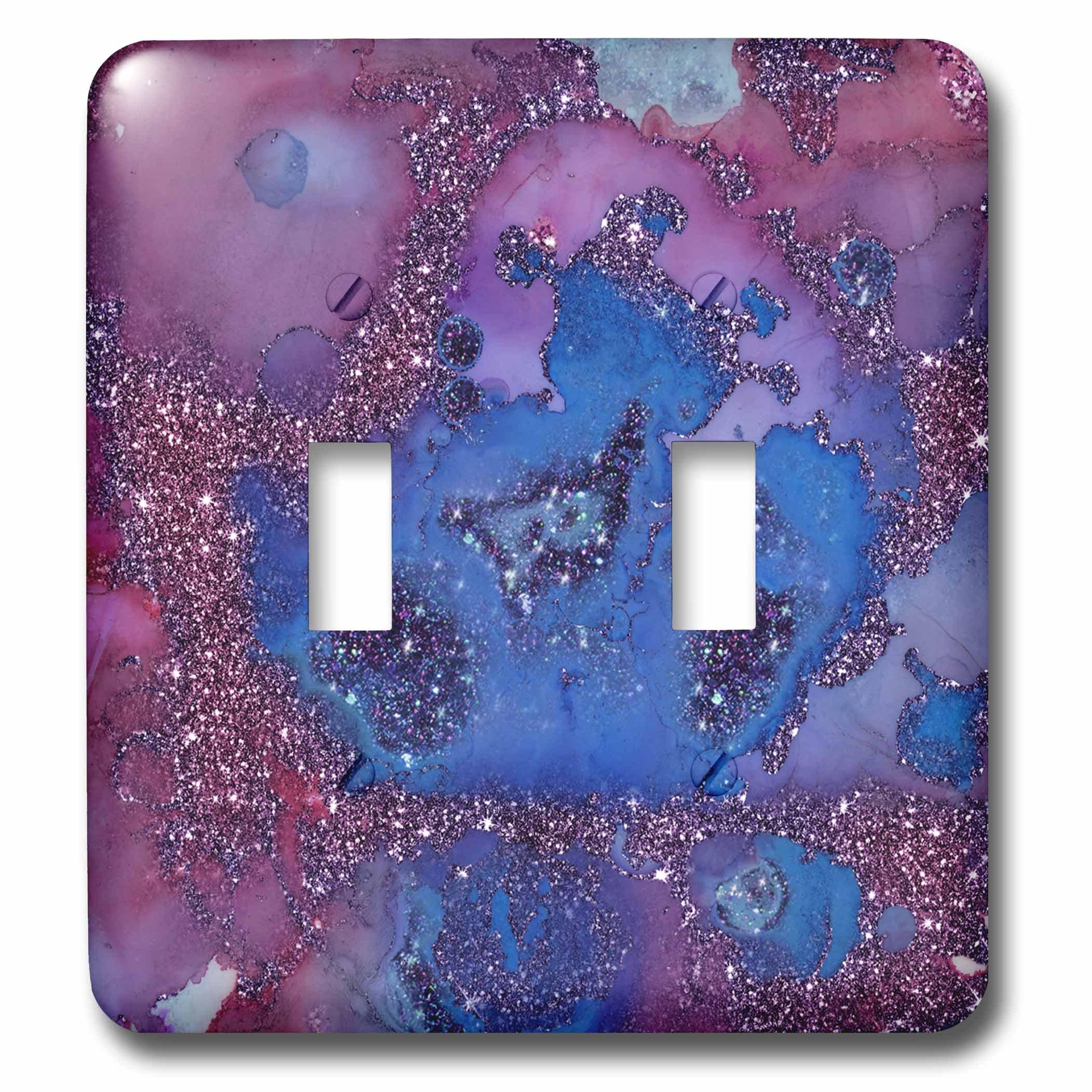 3dRose lsp_269026_2 Luxury Light Purple Ombre Gem Marble Glitter Metallic Faux Print Toggle Switch, Multicolor