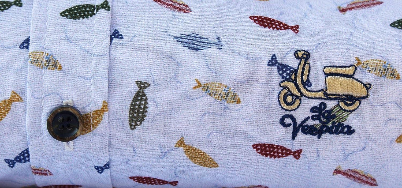 La Vespita Camisa con Estampado de Peces y Logo Vespa: Amazon.es ...