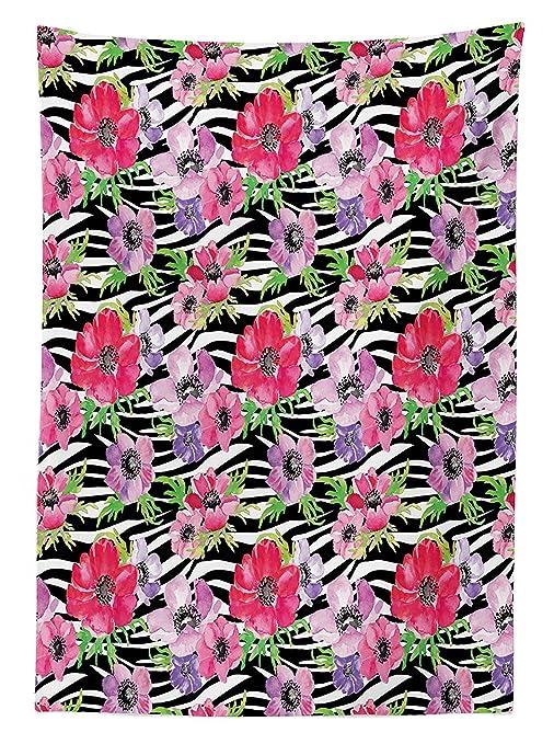 Zebra Print Decor Tovaglia Fiori Tropicali Summer Garden Blooms