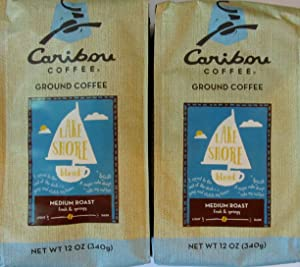Caribou Coffee Lake Shore Blend Medium Roast Ground Coffee, Two 12 oz Packages, Total 24 oz