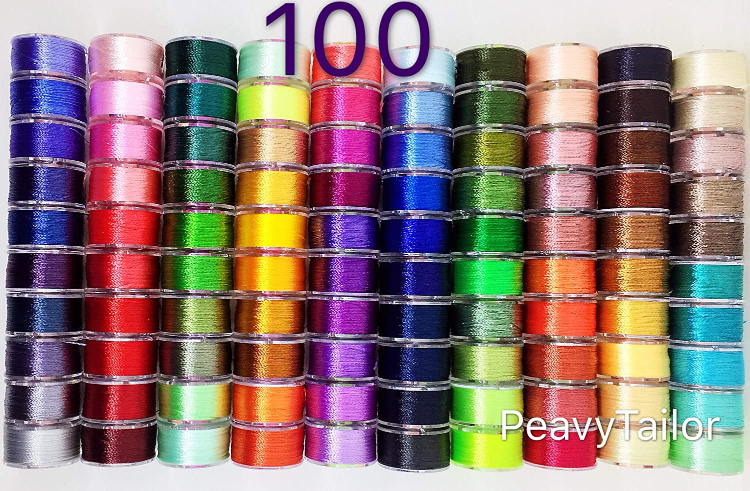 PeavyTailor 100 Color Prewound Embroidery Bobbins Embroidery Thread Bobbins for Machine Embroidery Brother, Baby Lock, Bernina, Janome, Pfaff, Singer peavytailor.com