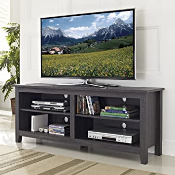 """WE Furniture 58"""" Wood TV Stand Storage Console, Charcoal"""