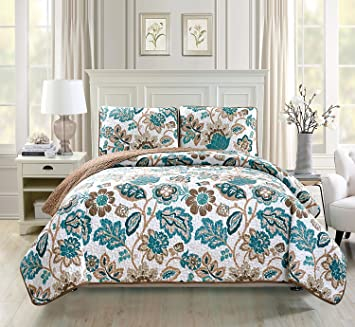 Linen Plus King/California King 3pc Quilted Bedspread Set Oversized  Coverlet Floral Brown Teal White New