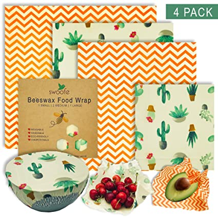 048f5e494e680 Swoofe Reusable Beeswax Food Wrap - Organic Eco Friendly, Biodegradable  Sustainable Products, Food Storage Wrappers, Organic Beeswax Wraps Cling ...