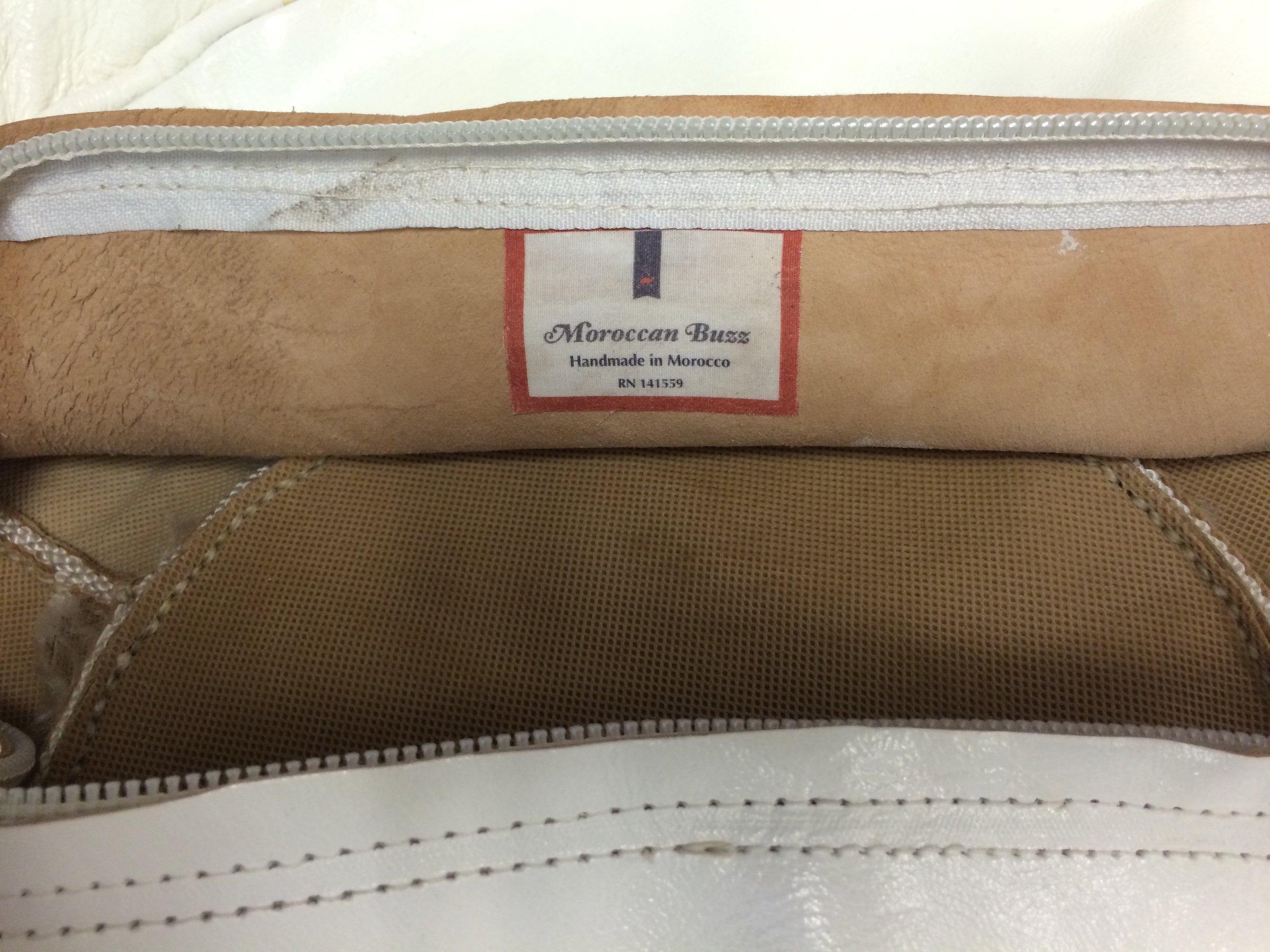 Moroccan Buzz 18-Pound Premium Stuffed Leather Pouf Ottoman, White