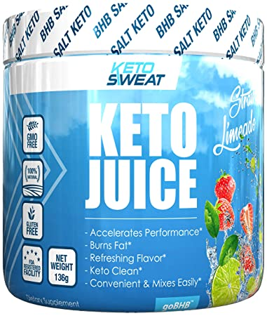 Keto Juice BHB Salts – Exogenous Ketone Performance Complex – Formulated for Ketosis, Energy, Focus and Fat Burn – Patented Beta-Hydroxybutyrates Calcium, Sodium, Magnesium – 11g- Strawberry Limeade