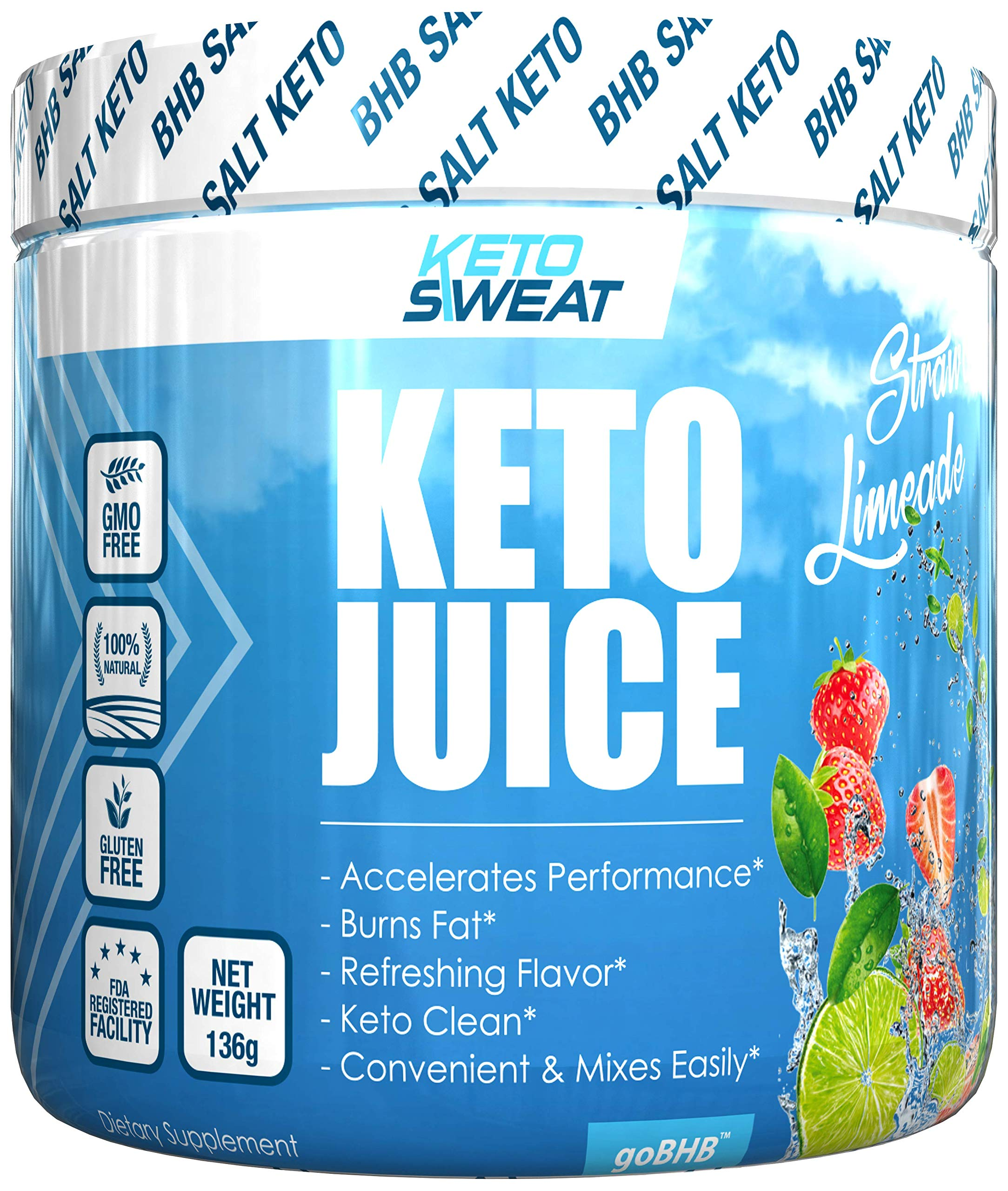 Keto Juice BHB Salts - Exogenous Ketone Performance Complex - Formulated for Ketosis, Energy, Focus and Fat Burn - Patented Beta-Hydroxybutyrates (Calcium, Sodium, Magnesium) - 11g- Strawberry Limeade