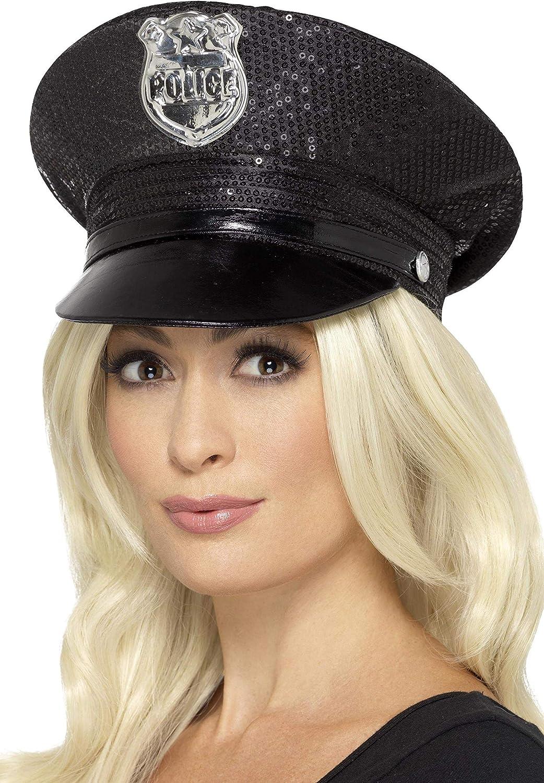SmiffyS 46988 Gorra De Policía Con Lentejuelas, Negro, Tamaño Único , color/modelo surtido: Amazon.es: Juguetes y juegos