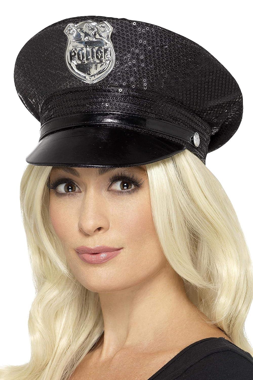 SmiffyS 46988 Gorra De Policía Con Lentejuelas, Negro, Tamaño ...