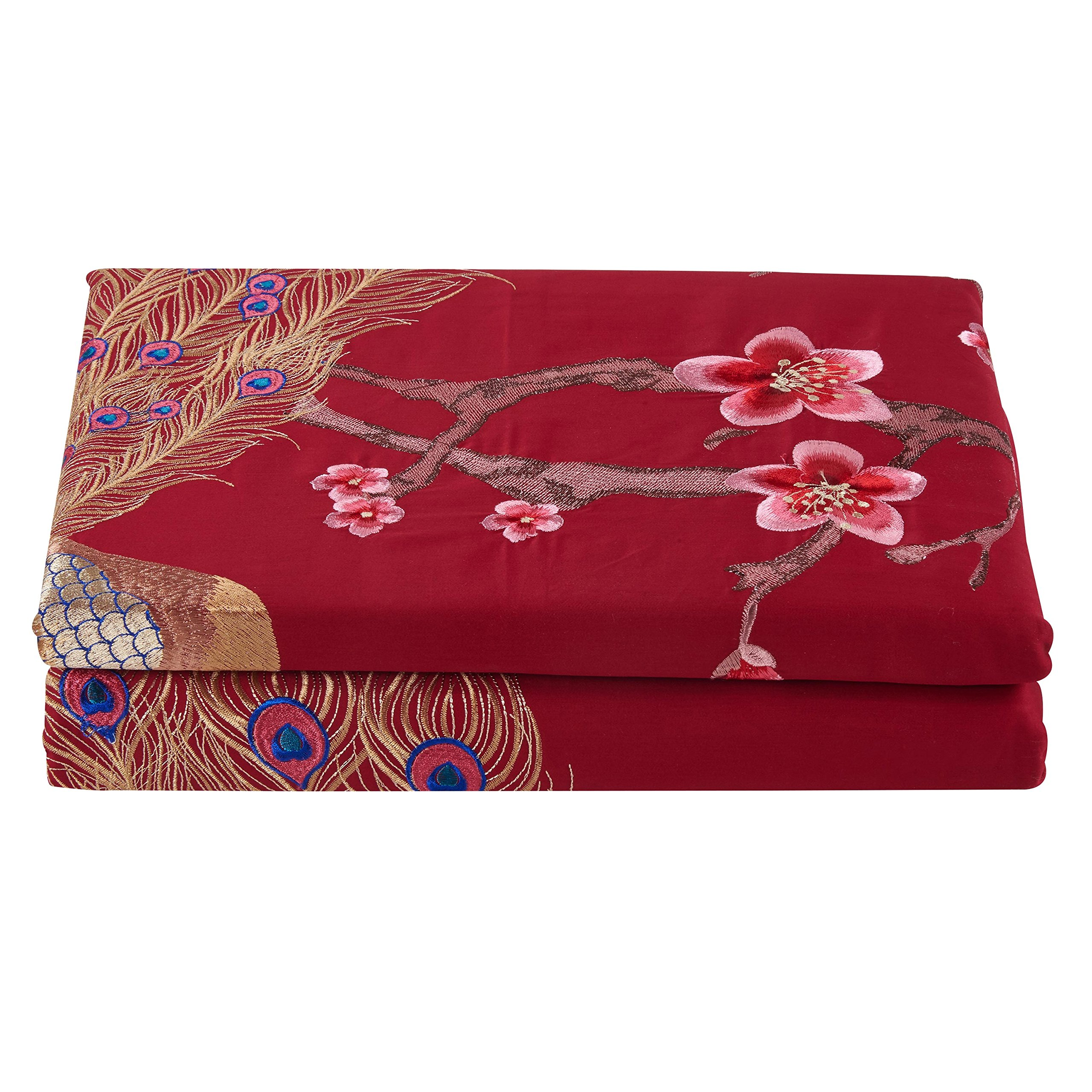 FlyWingToWing Wedding Bedding Embroidered Peacock Duvet Cover Set Flat Sheet Pillow Cover Full Red by Comforbed