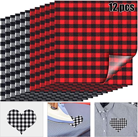 12 Sheets 12 x 12 Inch Christmas Buffalo Plaid Heat Transfer Vinyl Fabric Clothing Patches Vinyl Sheets Flannel Adhesive Iron on Vinyl for Clothes Red and Black, Black and White, Green and Black