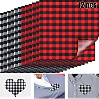 12 Sheets 12 x 12 Inch Christmas Buffalo Plaid Heat Transfer Vinyl Fabric Clothing Patches Vinyl Sheets Flannel Adhesive Iron on Vinyl for Clothes (Red and Black, Black and White)