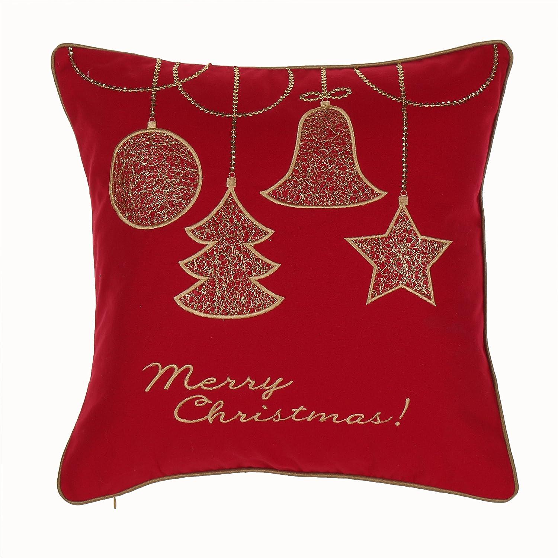 14カラットホームクリスマス装飾Feather Down Fill刺繍アップリケ装飾スロー枕、ゴールド B0190LAJZK
