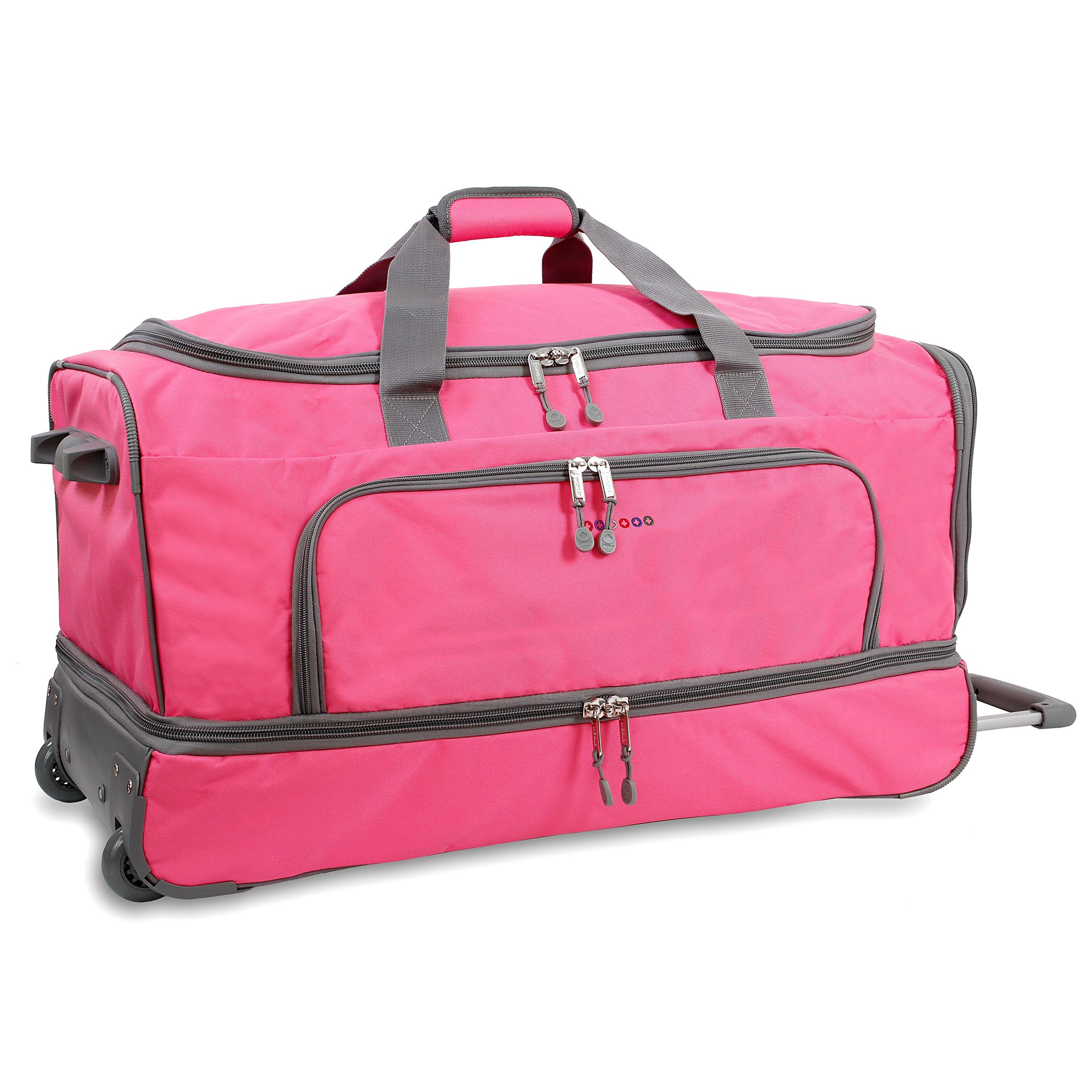 OS Pink 30-Inch Drop Bottom Softsided Rolling Duffel Bag, Nylon & Polyester by OS (Image #1)