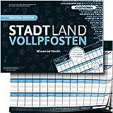 """STADT LAND VOLLPFOSTEN® - BLUE EDITION - """"Wissen ist Macht"""": DIN-A3 Block mit 50 Blatt, 43 lustige Kategorien bringen…"""